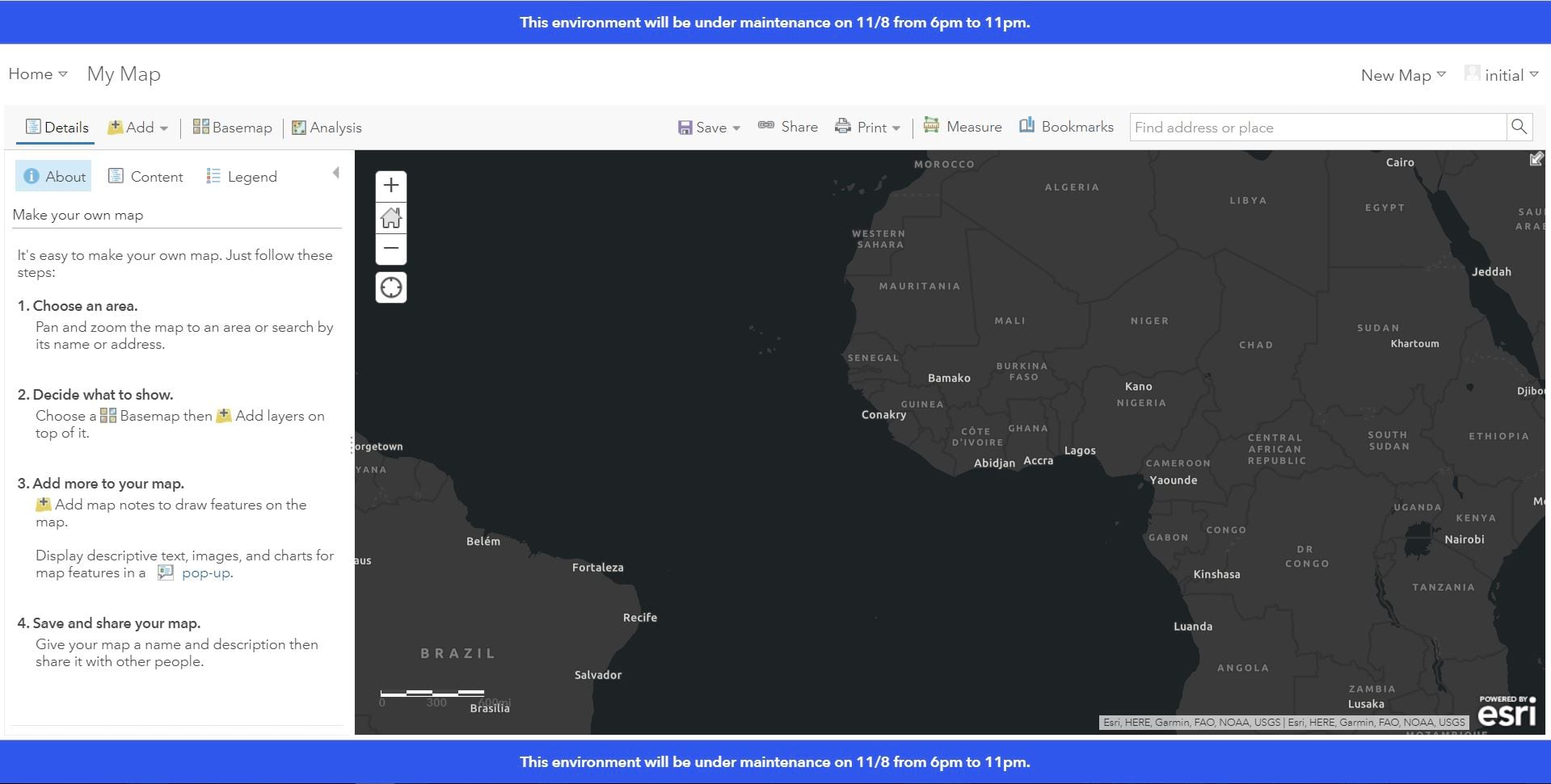 A map in ArcGIS Enterprise with an information banner signaling that the environment will be under maintenance.