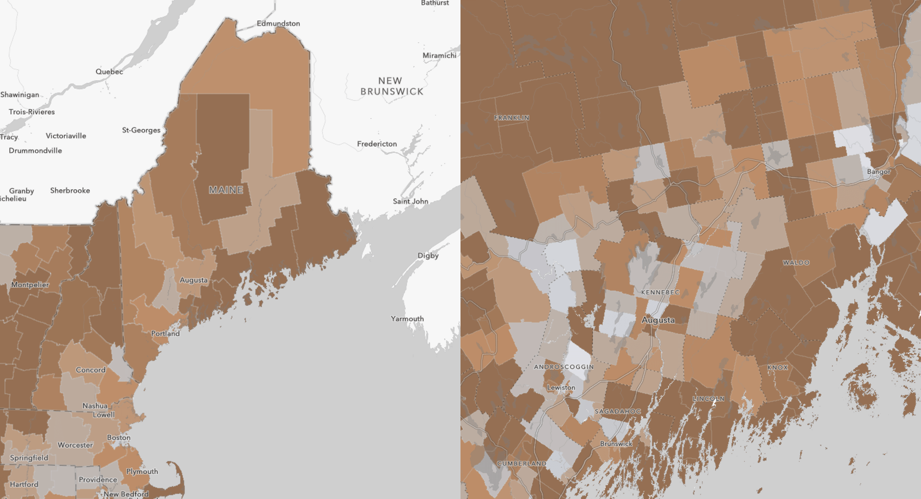 County- and tract-level maps showing the share of Maine's workers who are age 65 and over in dark orange.