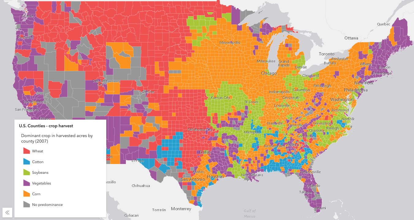 Map of the United States counties colored by the predominant crop harvested in each county. Each color comes from the Metro Movement ramp in the Esri color ramps page.