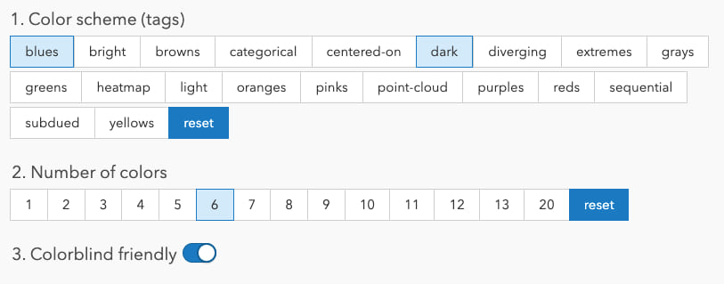 UI buttons for filtering color ramps on the Esri Color ramps page.