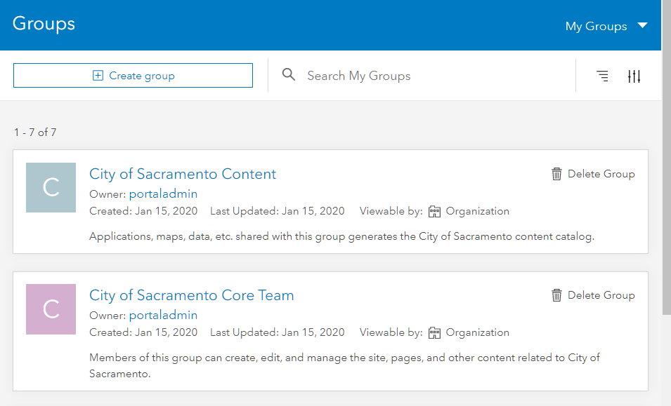 An image showing both groups that are created when a site is created: the core group and the content group.