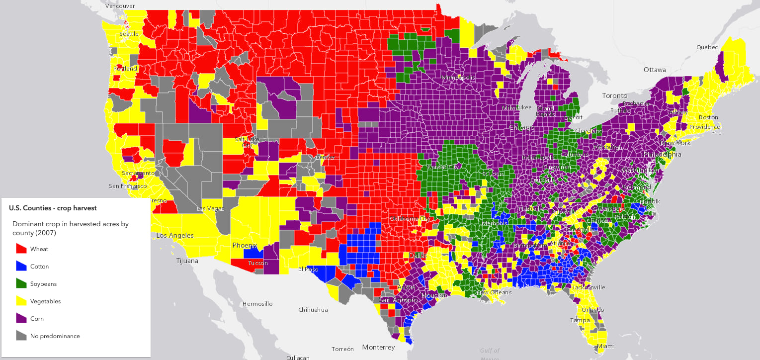 "Map of the United States counties colored by the predominant crop harvested in each county. Each color is well known, such as ""red"", ""purple"", etc. However, they don't look visually appealing."