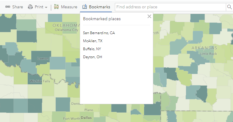 Bookmarked places include San Bernardino, CA; McAllen, TX; Buffalo, NY; Dayton, OH.