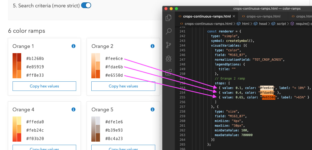 Arrows pointing where to copy and past colors from the Esri color ramps page to the relevant location within the code of an app.