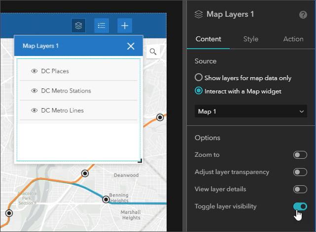 Map layers widget settings