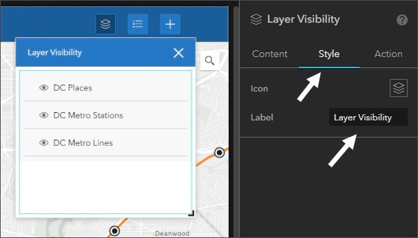 Layer widget settings