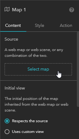 Map widget settings