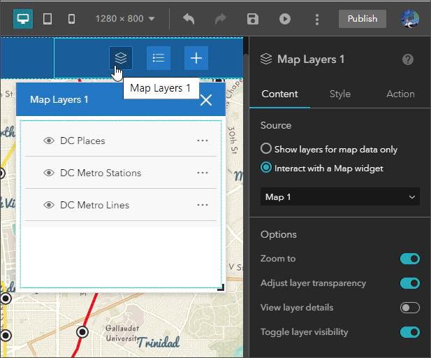 Map layer widget properties