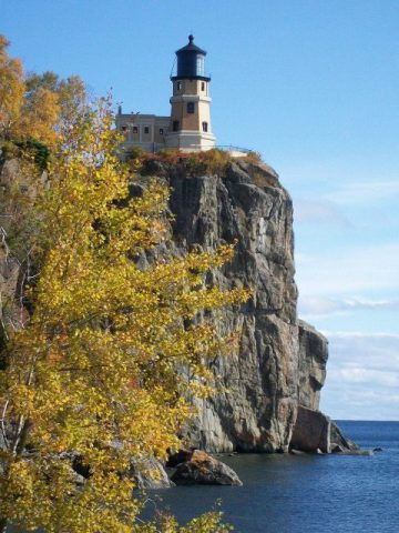 Split Rock Lighthouse high on the cliffs overlooking beautiful Lake Superior.