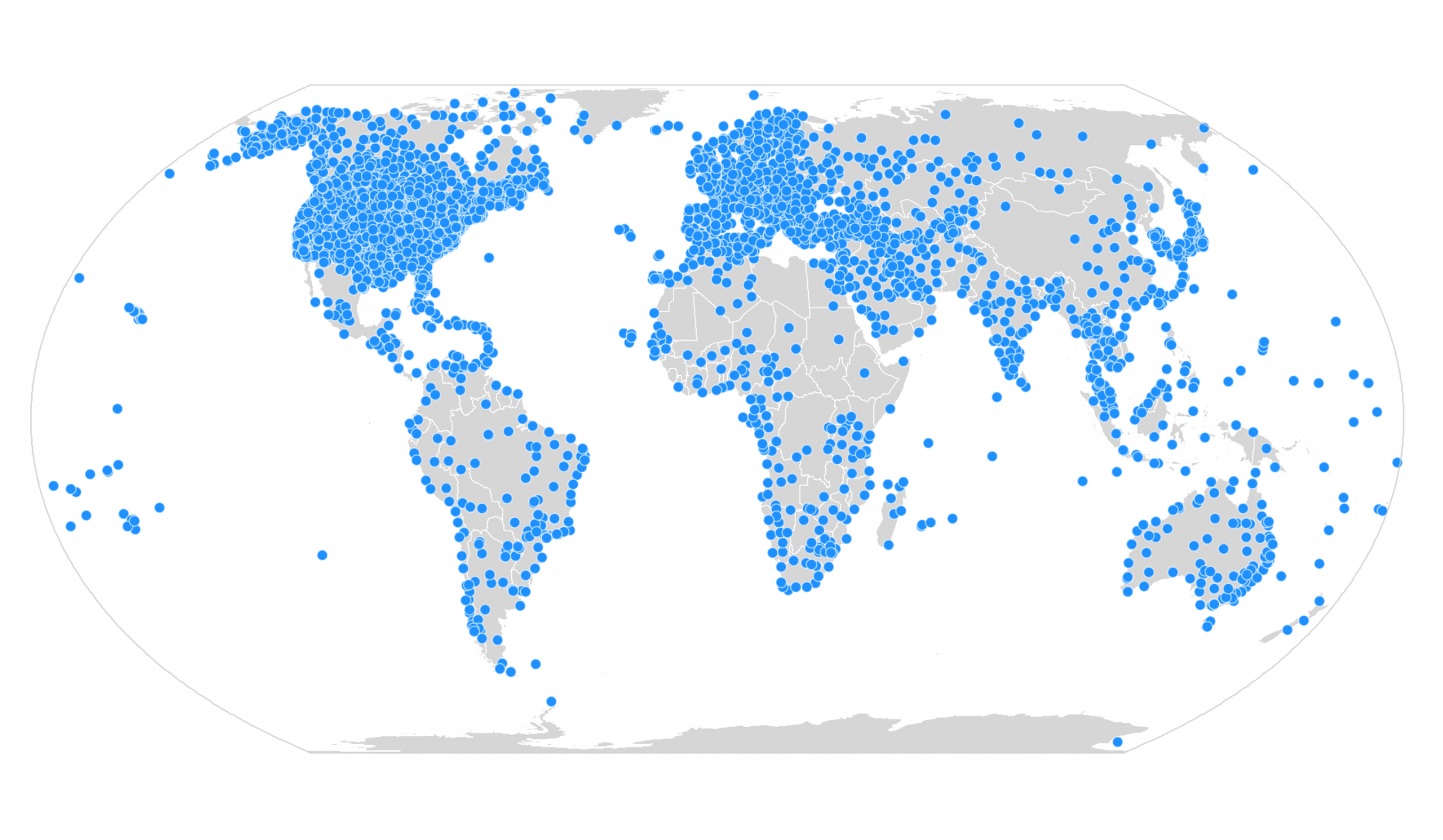 Worldwide weather stations. At 10px each, the points appear too cluttered.