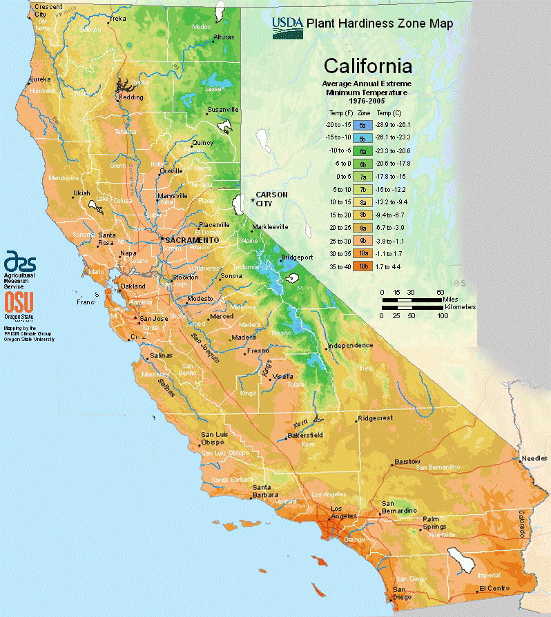California USDA Hardiness Zones