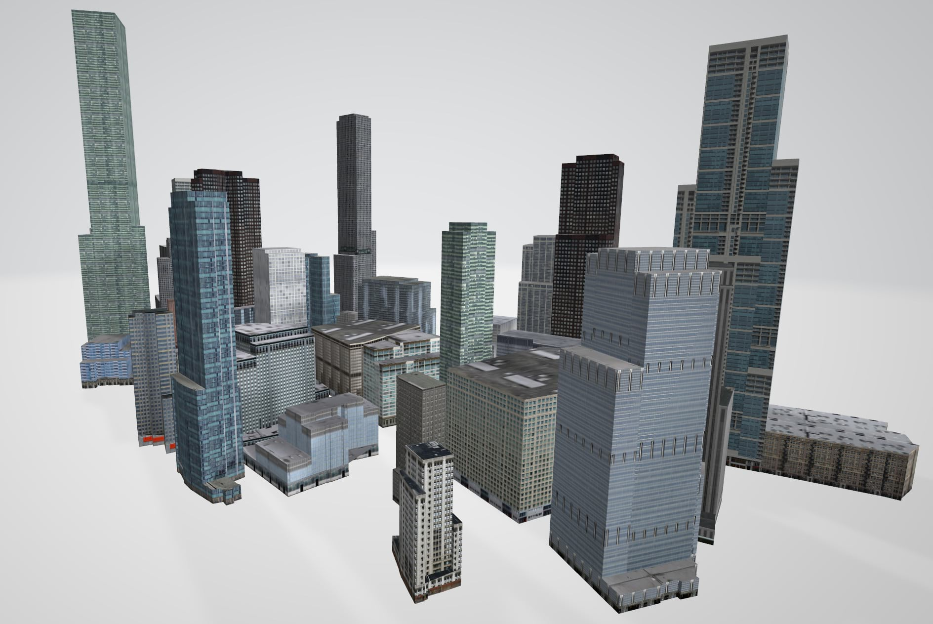 3D buildings procedurally generated on multiple initial shapes and exported as OBJ