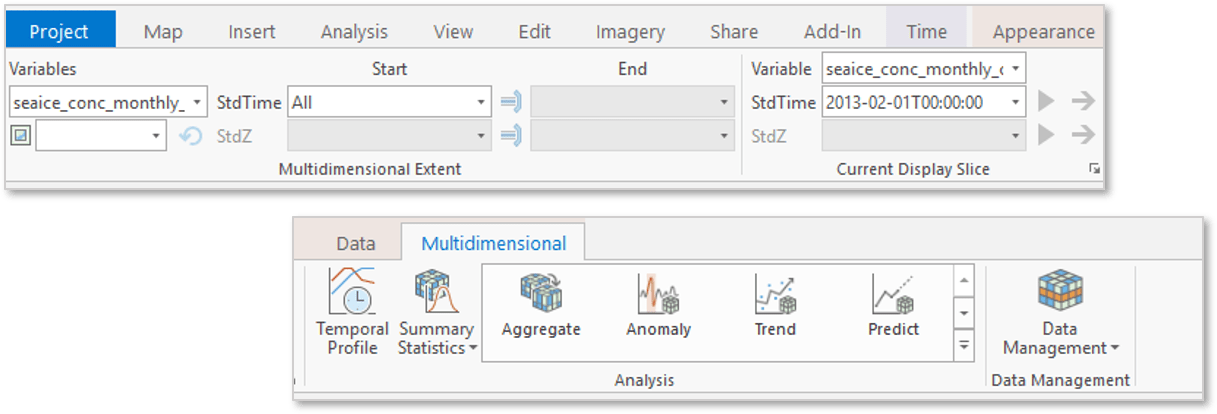 Multidimensional raster tab in ArcGIS Pro