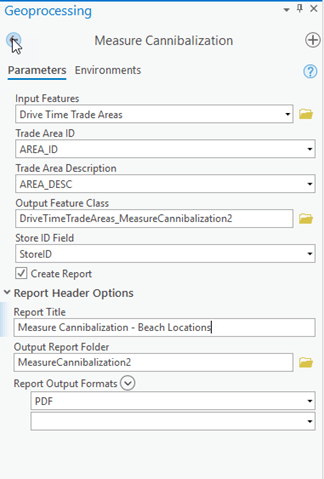 Measure Cannibalization tool with parameters set to output overlap on Drive Time Trade Areas and Create Report Check On.