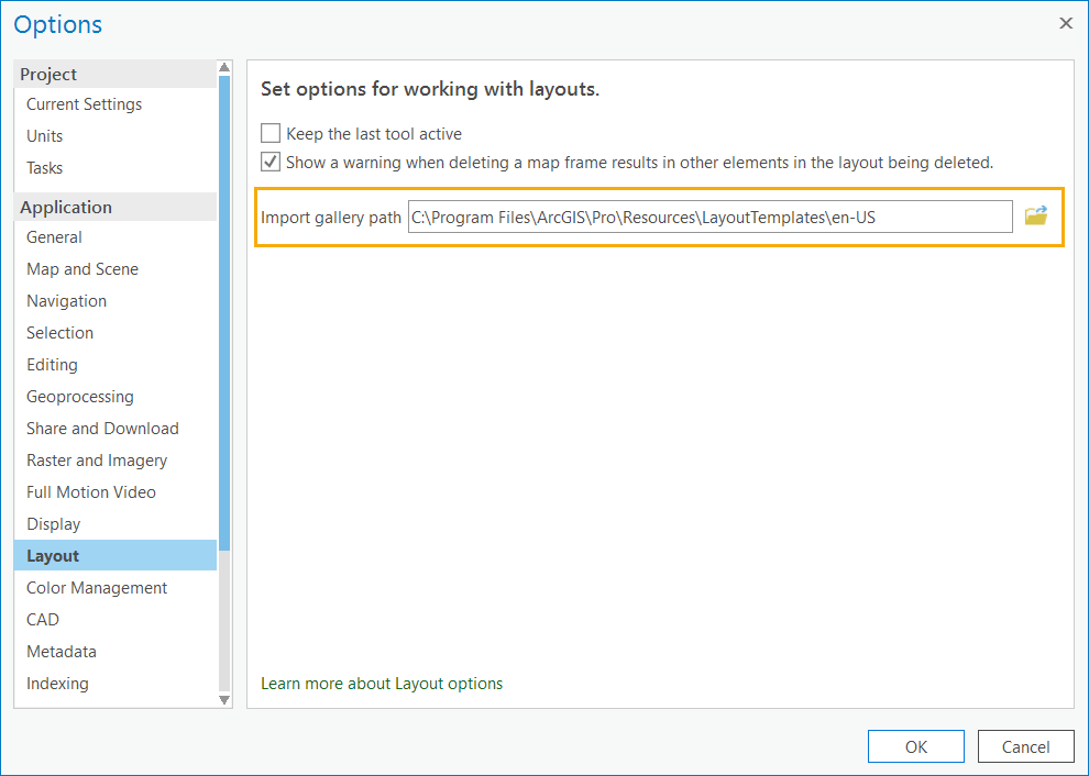 The Import gallery path setting