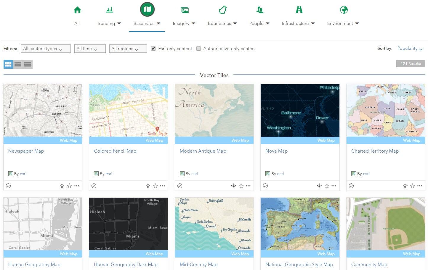 ArcGis Living Atlas Esri Vector Basemaps
