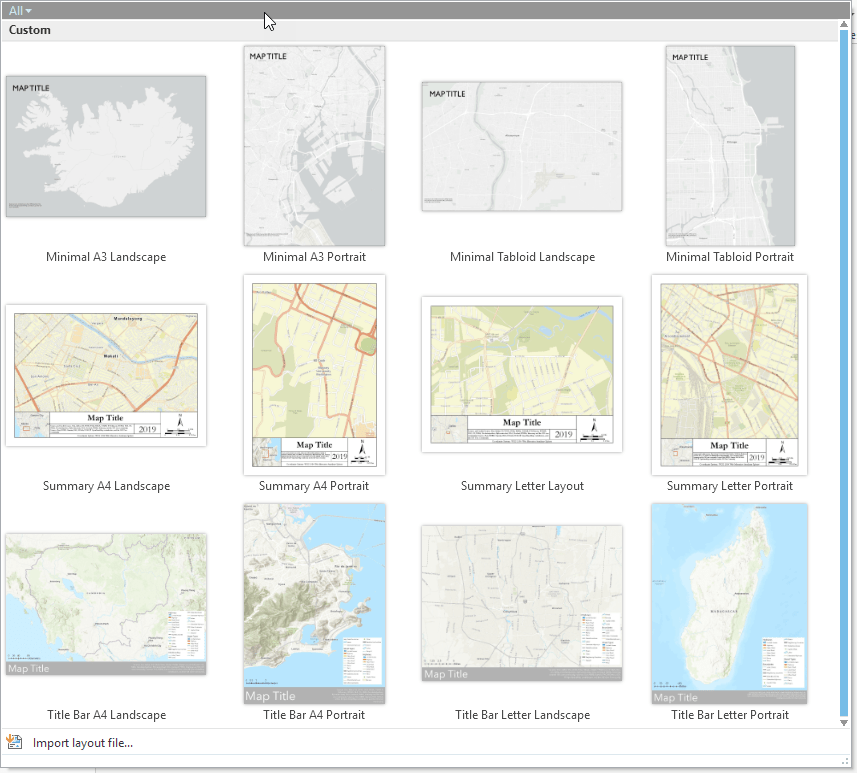 Default layout gallery