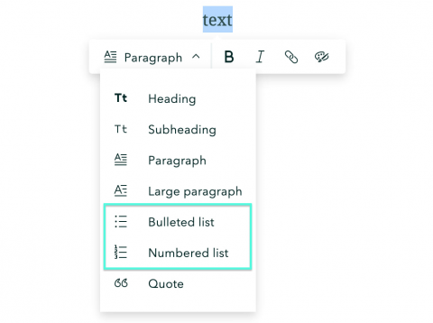 The bulleted and numbered list options highlighted in the StoryMaps text editor