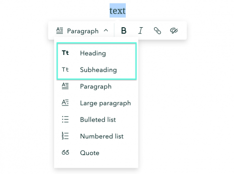 The heading and subheading options highlighted in the StoryMaps text editor