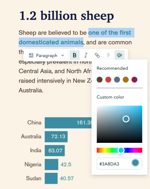 The story builder's text editor with options for custom color and bolded text enabled