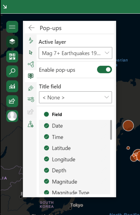 Pop-up settings window in ArcGIS for Office
