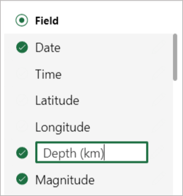 Editing field name