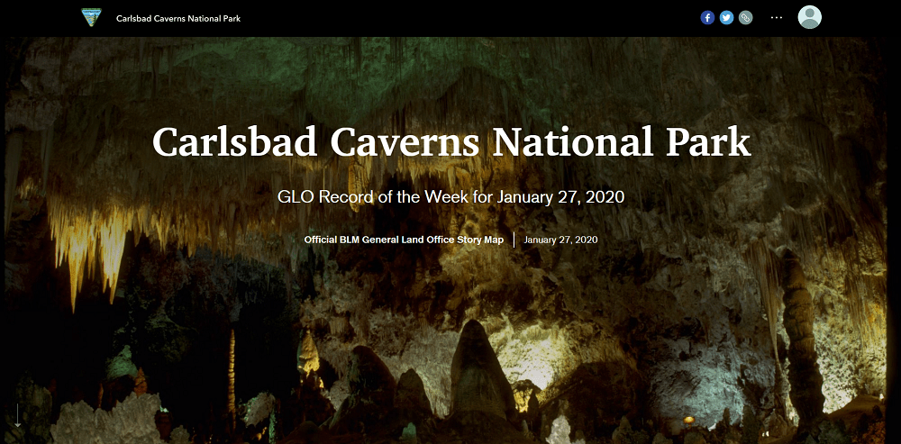 Cover of the Carlsbad Caverns National Park, GLO Record of the Week for January 27, 2020