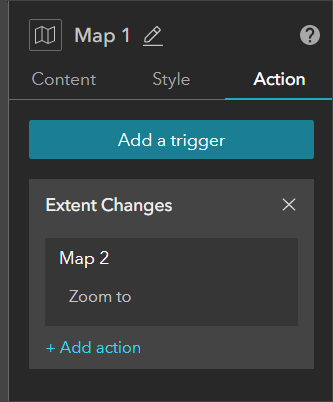 Map 1 Action settings