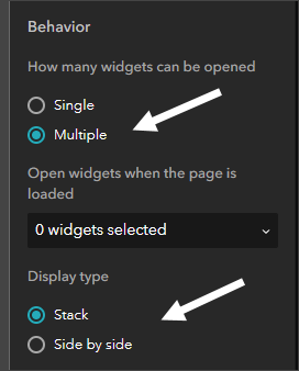 Widget controller settings