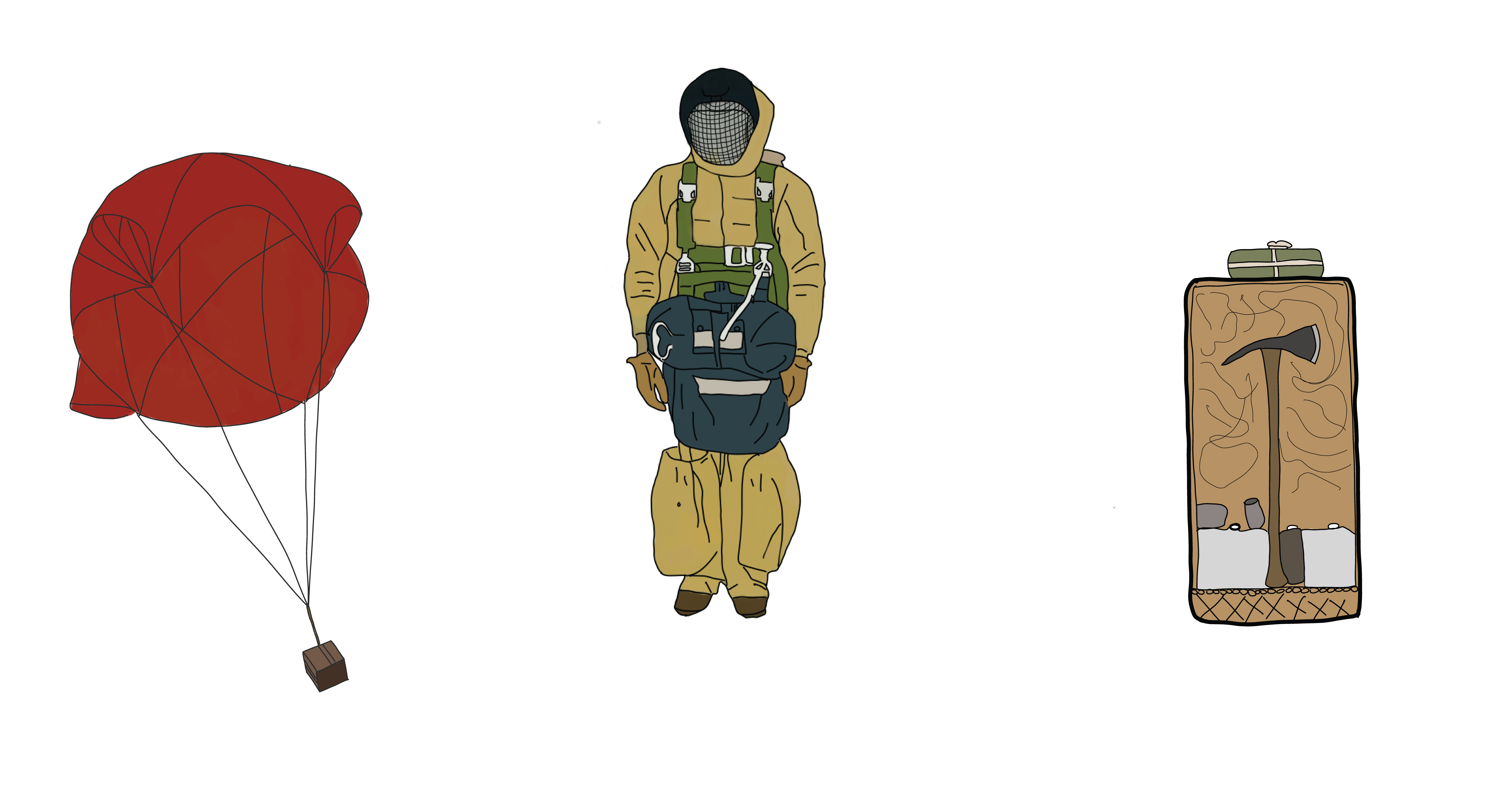 Hand drawn illustration of a cargo box, smokejumper, and firebox