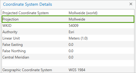 Projection highlighted in the details list of a projected coordinate system