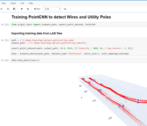 Training the PointCNN model to detect wires and poles