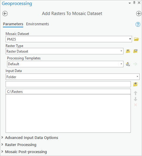 Configuring the Add Rasters To Mosaic Dataset tool