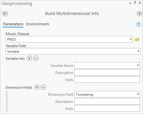 Configuring the Build Multidimensional Info tool
