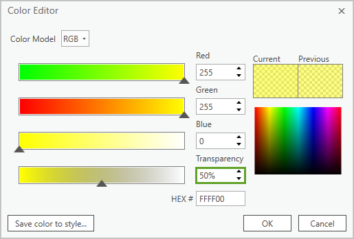 The color editor with Transparency set to 50%