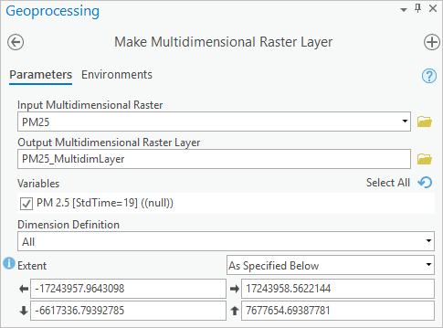 Configuring the Make Multidimensional Raster Layer tool