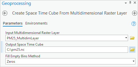 Configuring the Create Space Time Cube From Multidimensional Raster Layer tool
