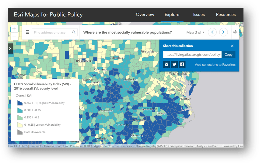 Esri Maps for Public Policy has been updated to include the latest information on COVID-19 for individual communities.