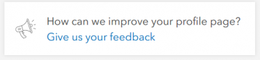"Dialog ""give us your feedback"" on the bottom of the user profile page"