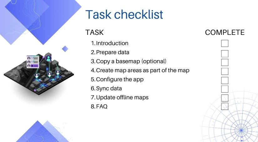 Task checklist for taking web maps offline