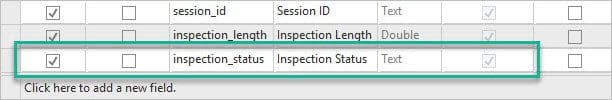 The new inspection status field in the pier spatial join attribute table.