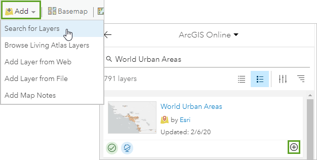 Search for and add the World Urban Areas layer to your map