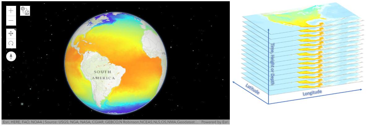 Worldwide daily temperature data map