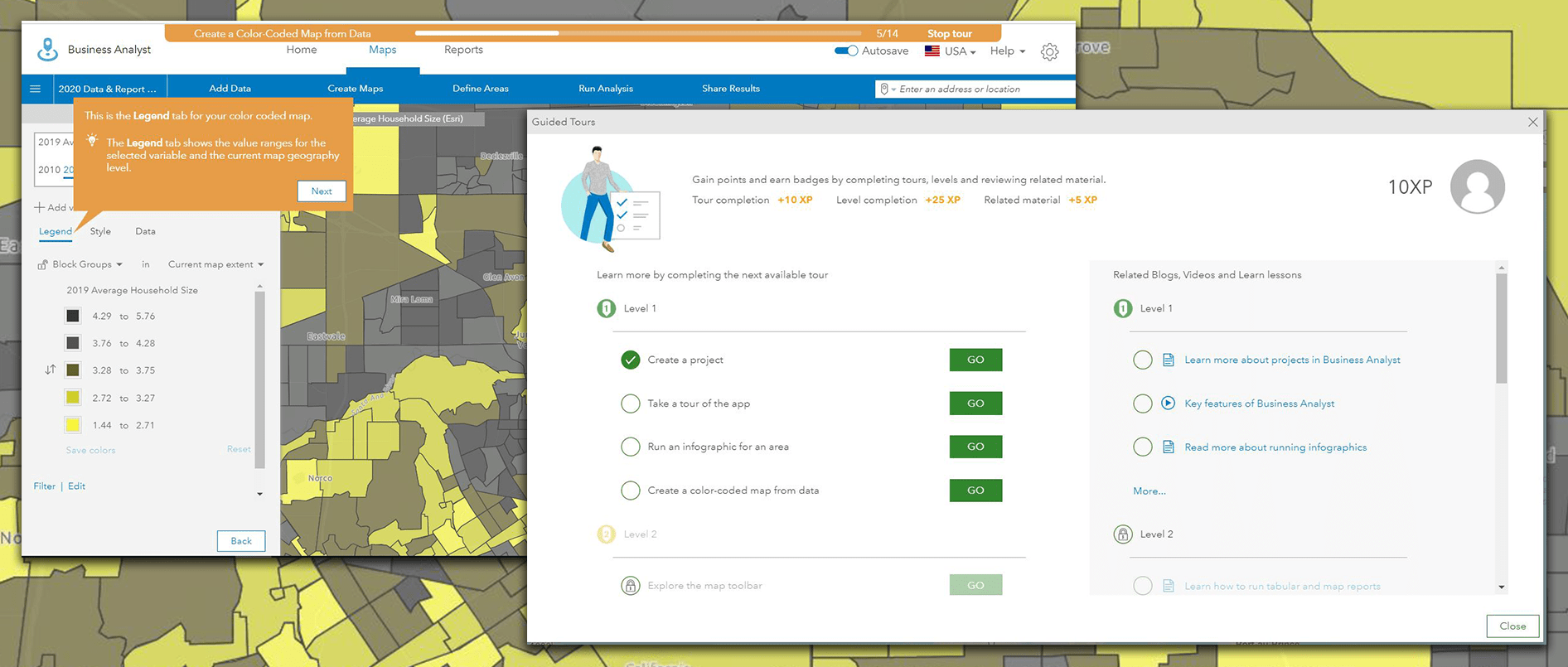 Guided tour menu highlighted atop a map in ArcGIS Business Analyst Web App
