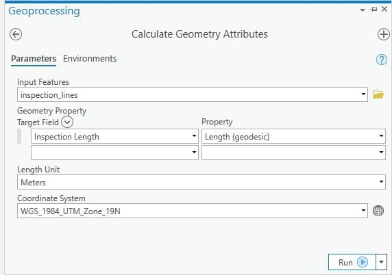 Calculate Geometry Attributes tool.