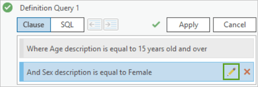 The edit button next to the second clause of Definition Query 1
