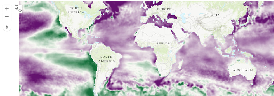 Global trend map showing areas with increasing temperature over time in purple, and areas with decreasing temperature over time in green
