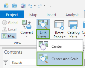 Link Views set to Center and Scale on the ribbon