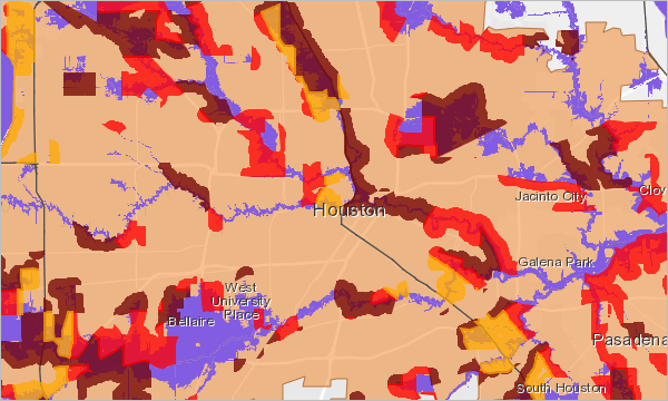 The medium to high risk flood zones