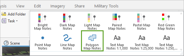 Polygon Map Notes found in the Map Notes gallery on the ribbon